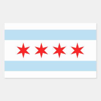 Chicago flagga rektangulärt klistermärke