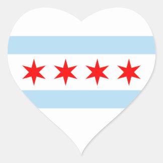 Chicago flaggaklistermärke hjärtformat klistermärke