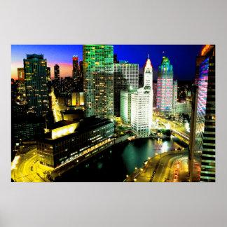 Chicago horisont Nightime Poster