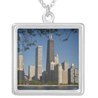 Chicago horisont och Lake Michigan, sjö kust Silverpläterat Halsband