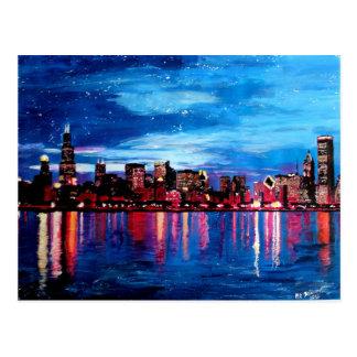 Chicago horisont på natten vykort