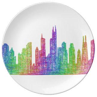 Chicago horisont porslinstallrik
