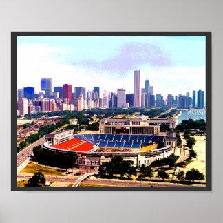 Chicago horisont Wrigley sätter in Poster