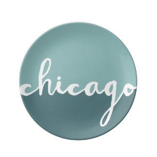 Chicago Illinois | blått Ombre cirklar Porslinstallrik
