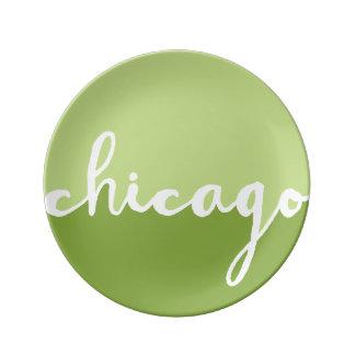 Chicago Illinois | gröna Ombre cirklar Porslinstallrik
