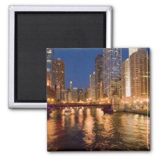 Chicago, Illinois, horisont och Chicago River på 2 Magnet