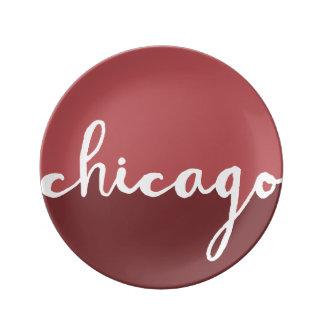 Chicago Illinois | rostar Ombre cirklar Porslinstallrik