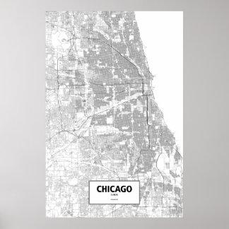 Chicago Illinois (svarten på vit) Poster