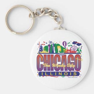 Chicago-Konfettiar Rund Nyckelring