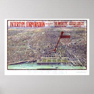 Chicago panorama- karta för IL - 1916 Poster