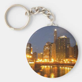 Chicago River på natten Rund Nyckelring