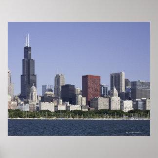 Chicago stadshorisont med Lake Michigan Poster
