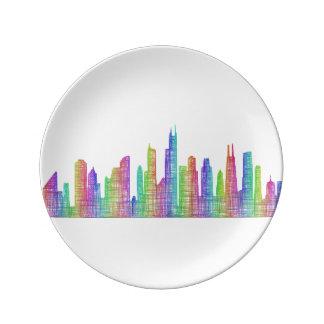 Chicago stadshorisont porslinstallrik