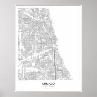 Chicago United States Minimalist kartaaffisch Poster