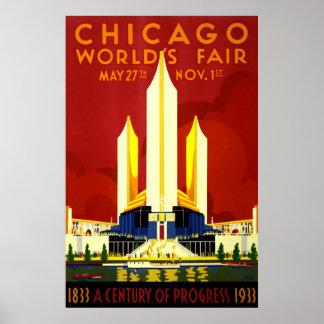 Chicago världs vintage resor för mässa poster