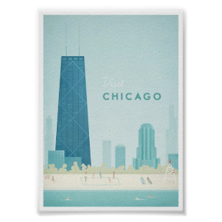 Chicago vintage resoraffisch poster
