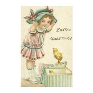 Chick för påsk för Victorianflickagåva Canvastryck