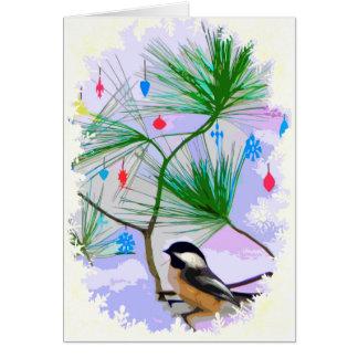 Chickadeefågel i julgrankort hälsningskort