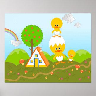 Chickar och orange träd affischer