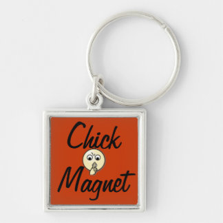 Chickmagnet Fyrkantig Silverfärgad Nyckelring