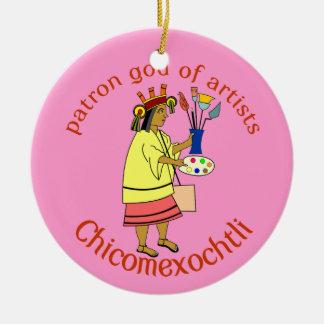 Chicomexochtli målare gud för beskyddare julgransprydnad keramik