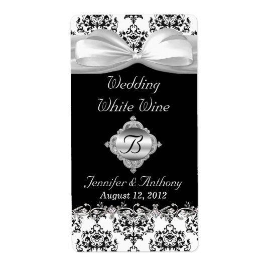 Chicsvart & etiketter för vin för vitbröllop mini- fraktsedel
