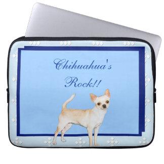 Chihuahua~-blått med vitdiamantdesign laptop fodral
