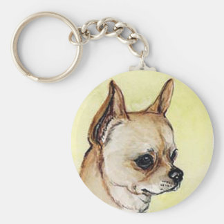"""""""Chihuahua"""" hundkonst Keychain Rund Nyckelring"""