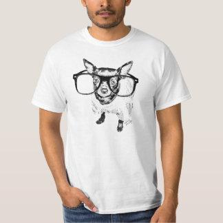 Chihuahua med exponeringsglasillustrationen t-shirts