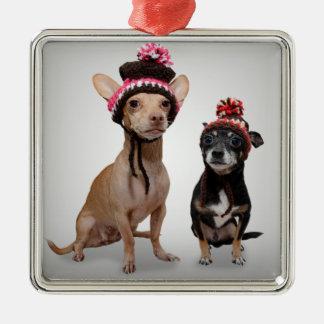 Chihuahuahundar med hattfotoet julgransprydnad metall