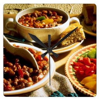 Chili med cornbreaden fyrkantig klocka