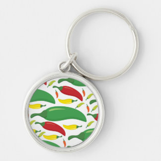 Chilipepparmönster Rund Silverfärgad Nyckelring