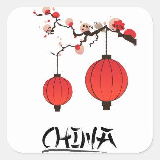 Chinalyktor reser affischtrycket fyrkantigt klistermärke