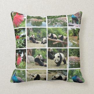 Chinapanda, påfågel, flamingoflock och blommor kudde