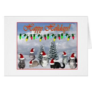 Chinchilla Santas som dekorerar träd Hälsningskort
