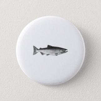 Chinook - (svartvit) kunglaxlogotyp, standard knapp rund 5.7 cm