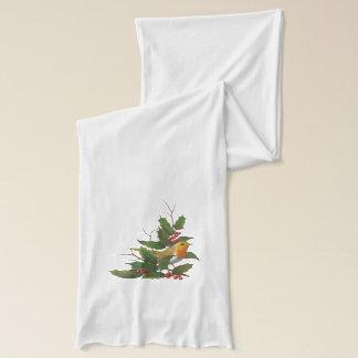 Chistmas design: Engelska Robin, järnek, ris, Sjal