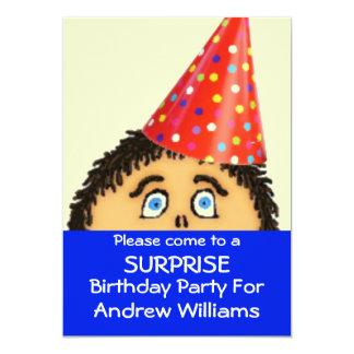 Chockat ansikte för överrrakningfödelsedagsfest 12,7 x 17,8 cm inbjudningskort
