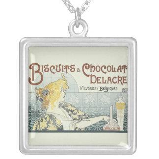 Chocoloate art nouveau halsband med fyrkantigt hängsmycke