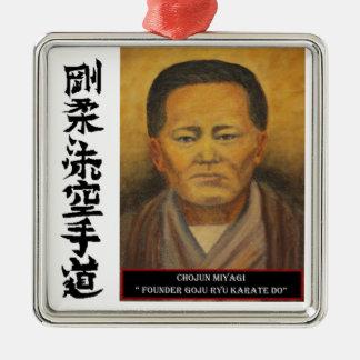 Chojun Miyagi Silverfärgad Fyrkantigt Julgransprydnad