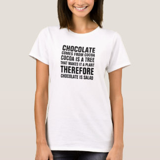 Choklad kommer från kakaon, kakao är ett träd, det tee shirt