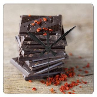 Choklad och Chili Fyrkantig Klocka