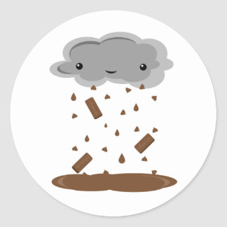Choklad regnar runt klistermärke