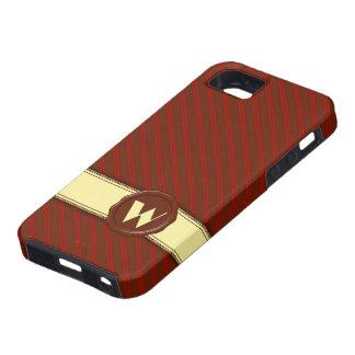 Choklad shoppar monogramen - körsbärsröda randar - iPhone 5 skydd