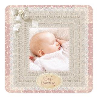 Christening för foto för flickor för pärla för fyrkantigt 13,3 cm inbjudningskort
