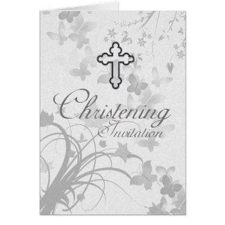 Christeninginbjudan med argt och urblektt smör hälsningskort