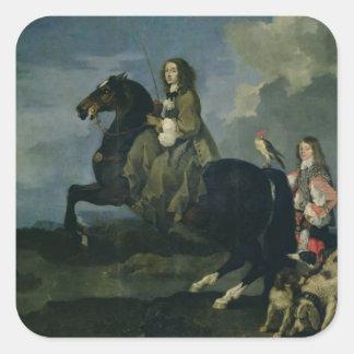 Christina av sverigen (1626-89) på hästryggen, fyrkantigt klistermärke
