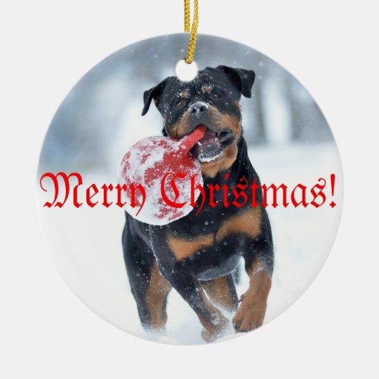 Christmas tree Rottweiler Julgransprydnad Keramik