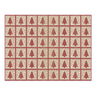 Christmassy rött stuckit mönster vykort