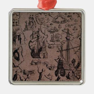Christopher Colombus som upptäcker öarna Julgransprydnad Metall